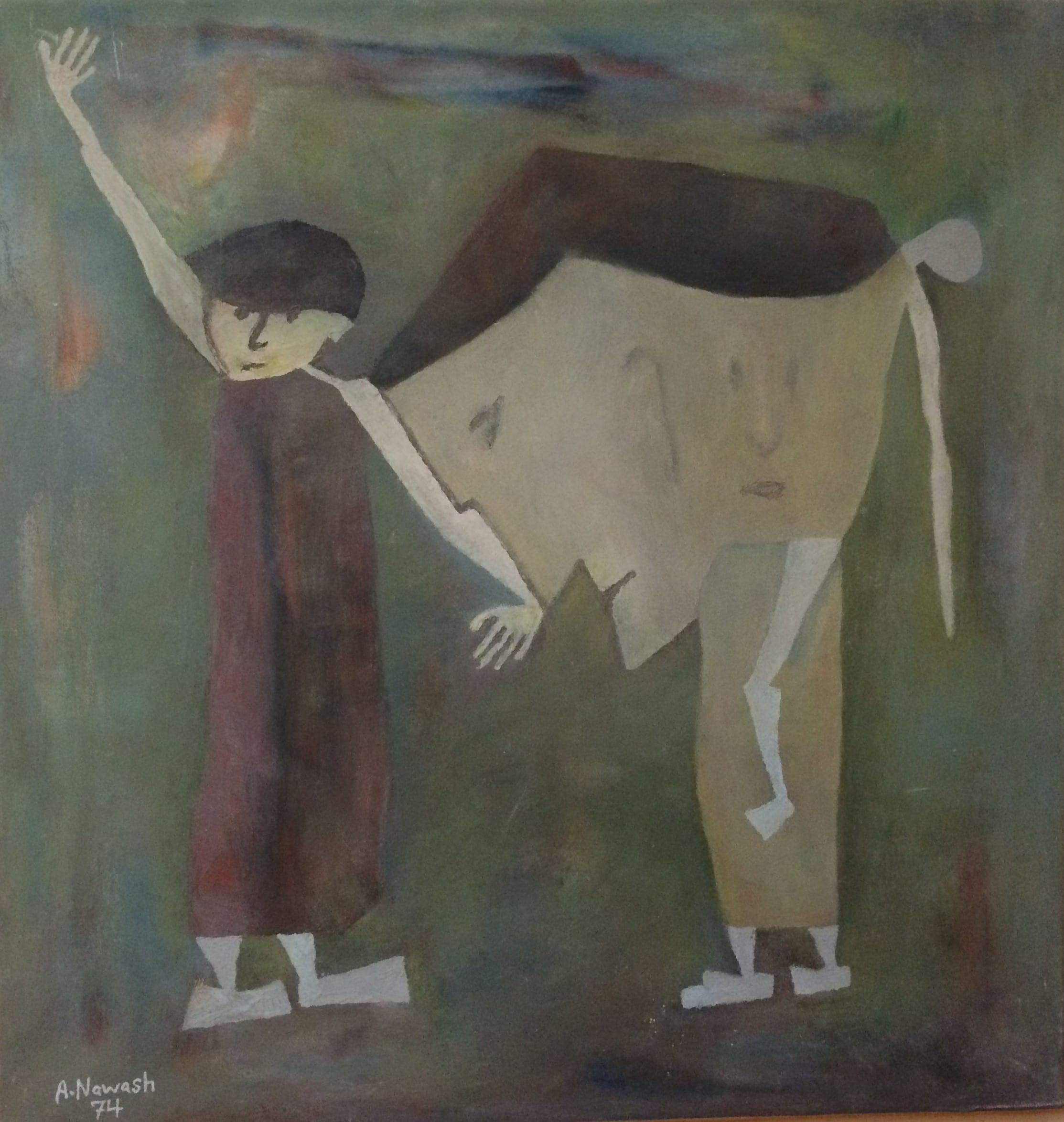 Ahmad Nawash, Oil on Canvas, 1974, Rajol Al moroor, 56.5x59.5 cm