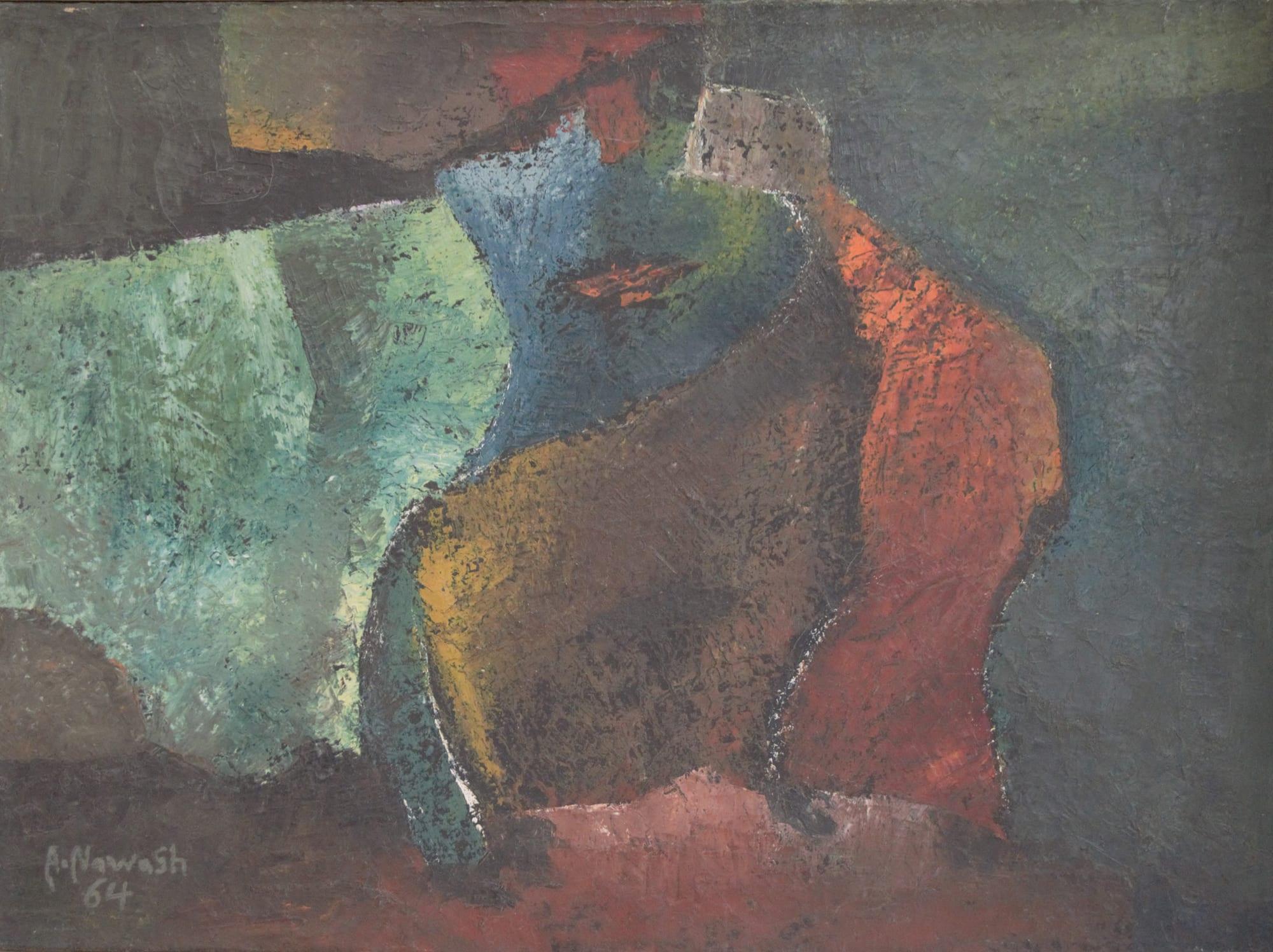 Ahmad Nawash,41.5x56,1964, Fakeer Yatlob sadaqa, 2 oil on Canvas