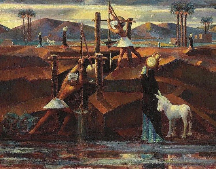 Mahmoud Said, Les Chadoufs, 1934. Image Courtesy Christie's.