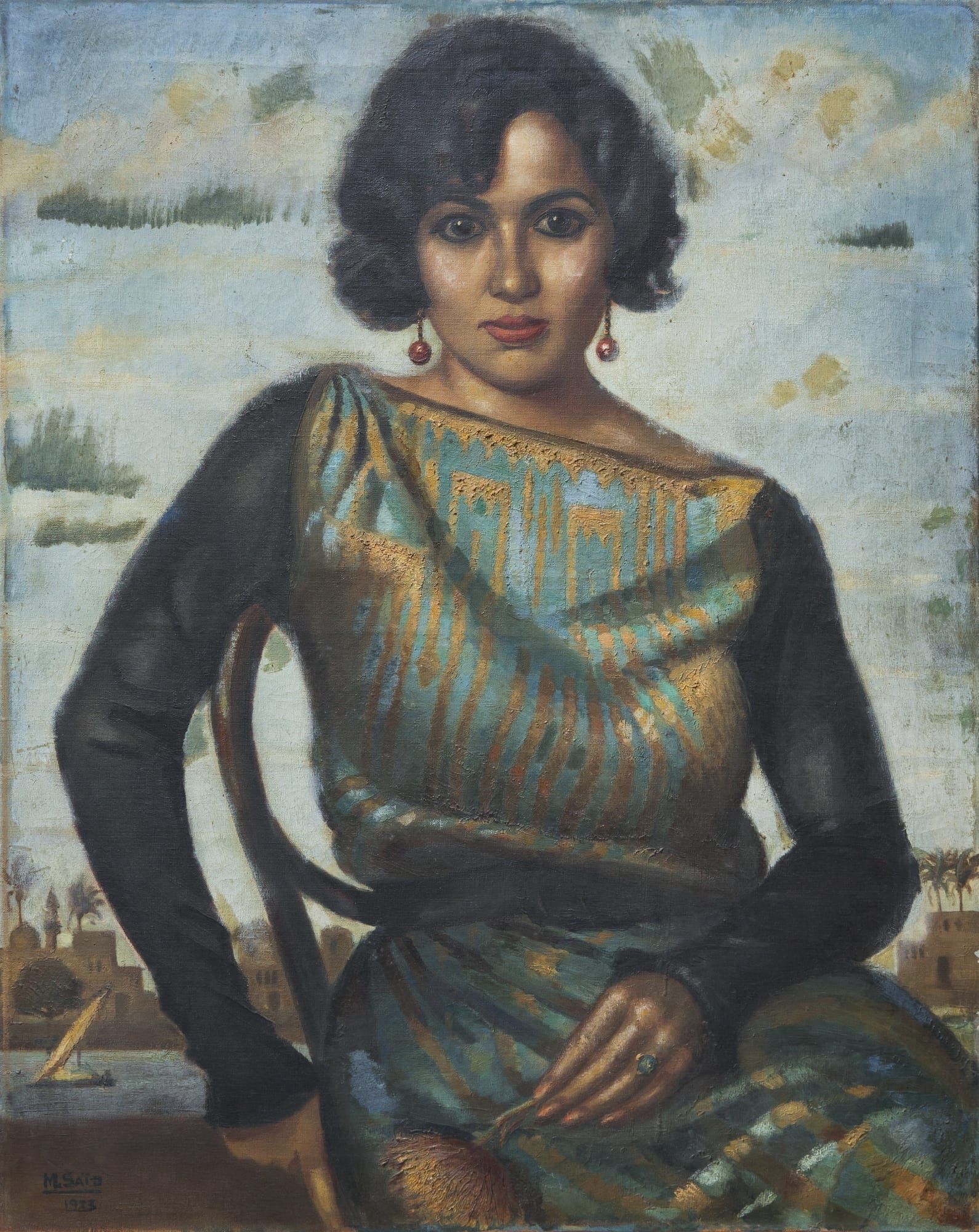Mahmoud Said, Portrait de Madame Batanouni Bey, 1923. Image Courtesy Sotheby's.