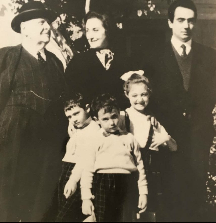 Lebanese President Bechara El Khoury with Huguette (centre), Brigitte, her brothers and father c 1960s. Photo Courtesy Caland Family.