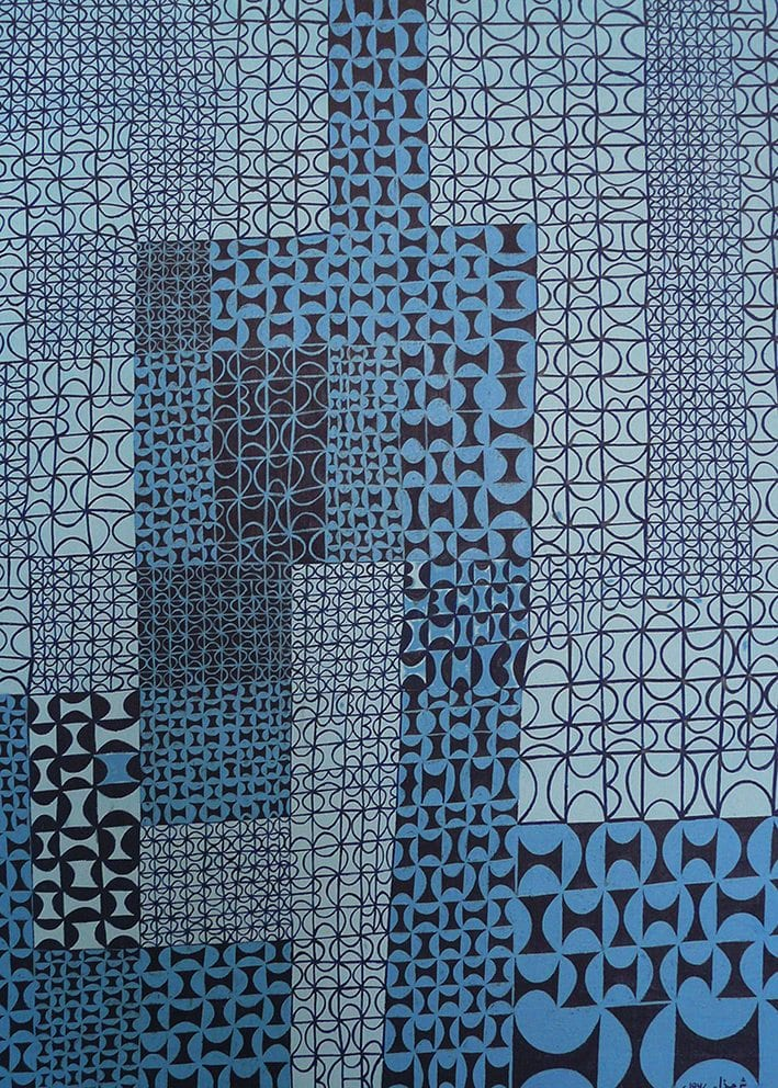 Anwar-Jalal-Shemza,-Blue-Blue-Jazz,-1967-copyright-the-Estate-of-Anwar-Jalal-Shemza